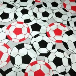 Bawełna Piłki 3D czarno czerwone na szarym tle