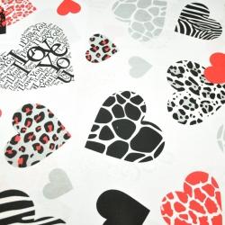 Bawełna serca wzorzyste czarno czerwone na białym tle