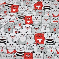 Tkanina koty w kinie szaro biało czerwone