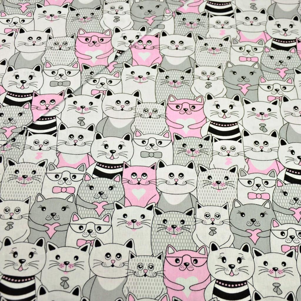Tkanina koty w kinie szaro biało różowe