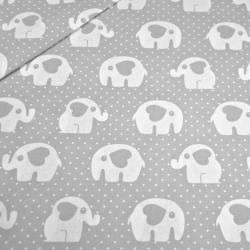 Tkanina w słoniki z kropeczkami na szarym tle