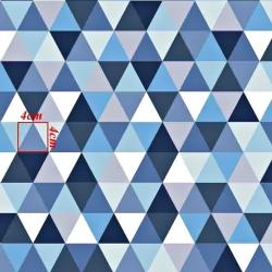 Tkanina w trójkąty duże biało niebieskie