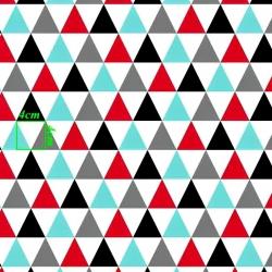 Tkanina w trójkąty duże turkusowo czerwone na białym tle