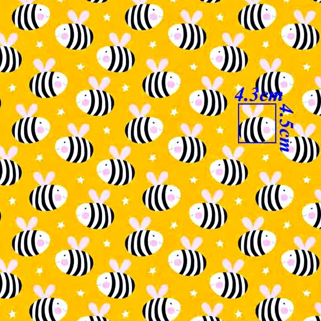 Tkanina w Pszczółki na żółtym tle