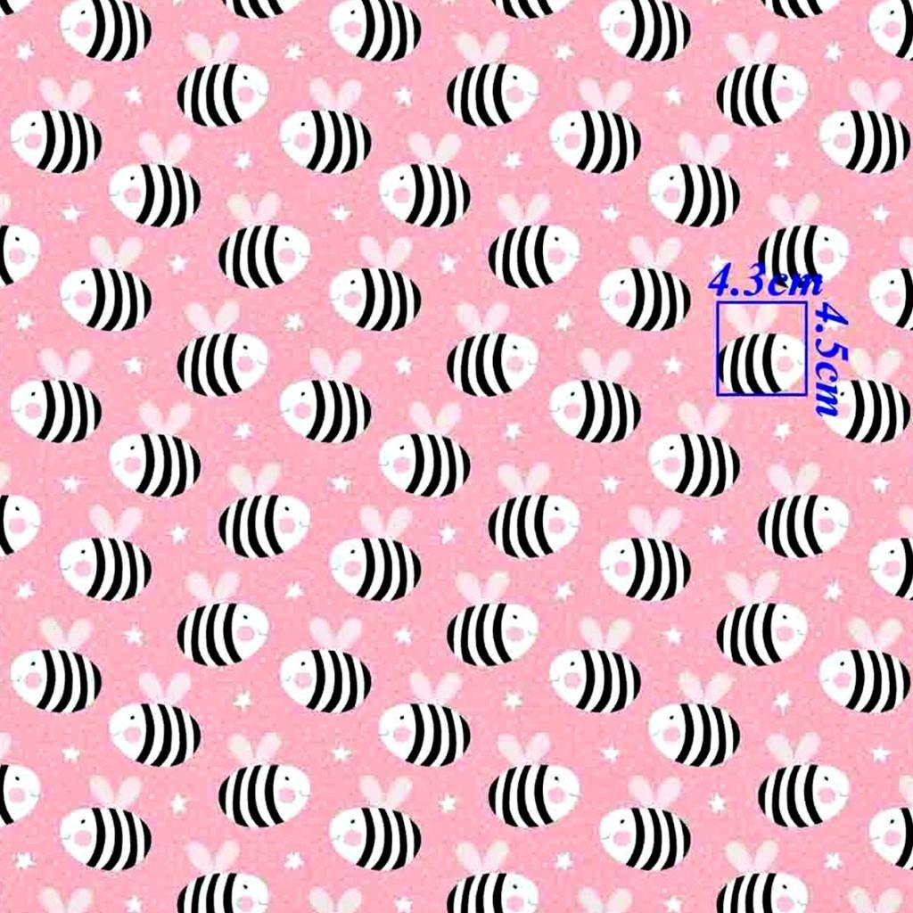 Tkanina w Pszczółki na różowym tle