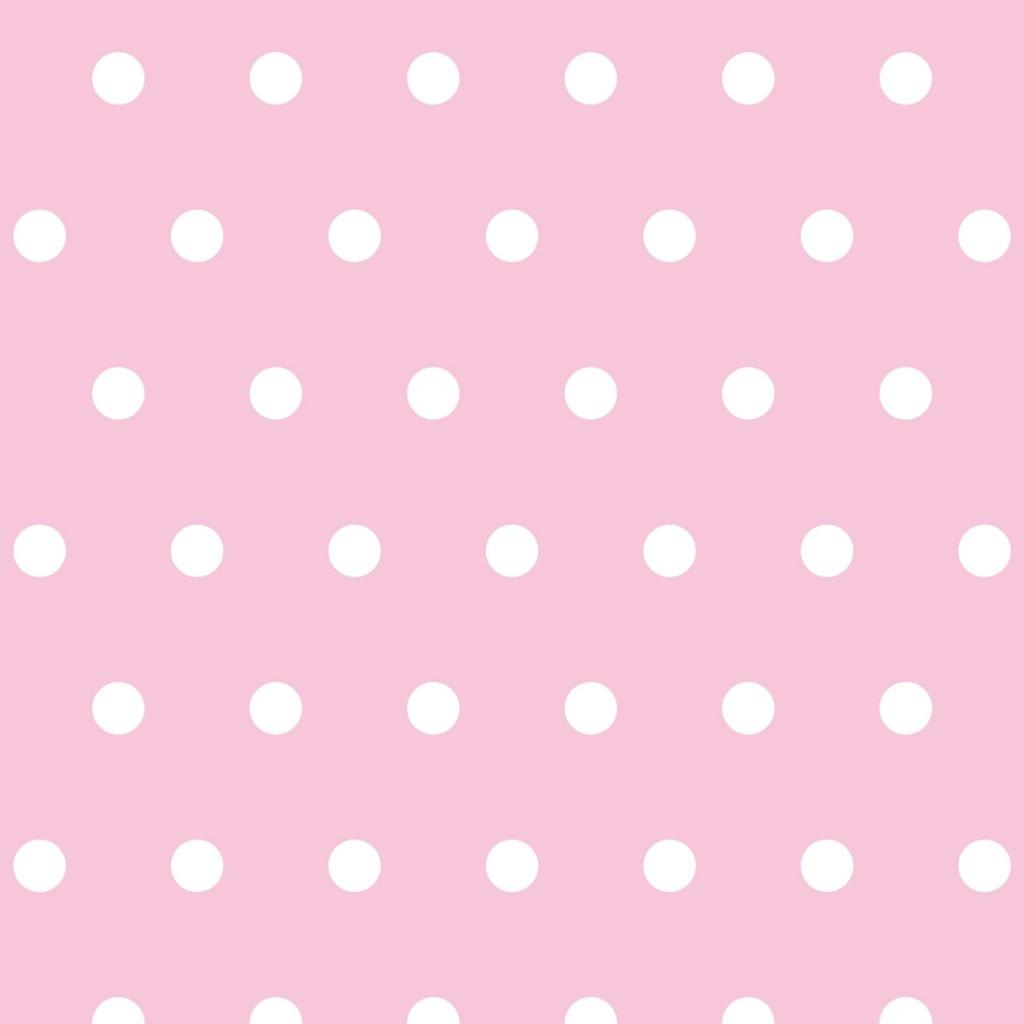 Tkanina w grochy białe na różowym tle