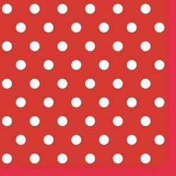 Tkanina w grochy białe na czerwonym tle