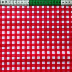 Bawełna kratka czerwono biała