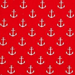 Tkanina w kotwice białe na czerwonym tle