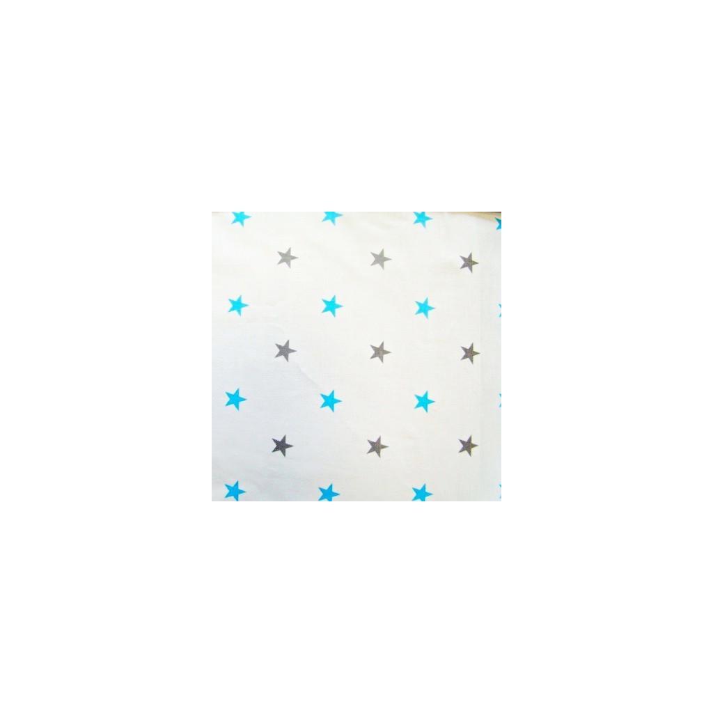 Tkanina w gwiazdki 12mm szaro/turkusowe na białym tle