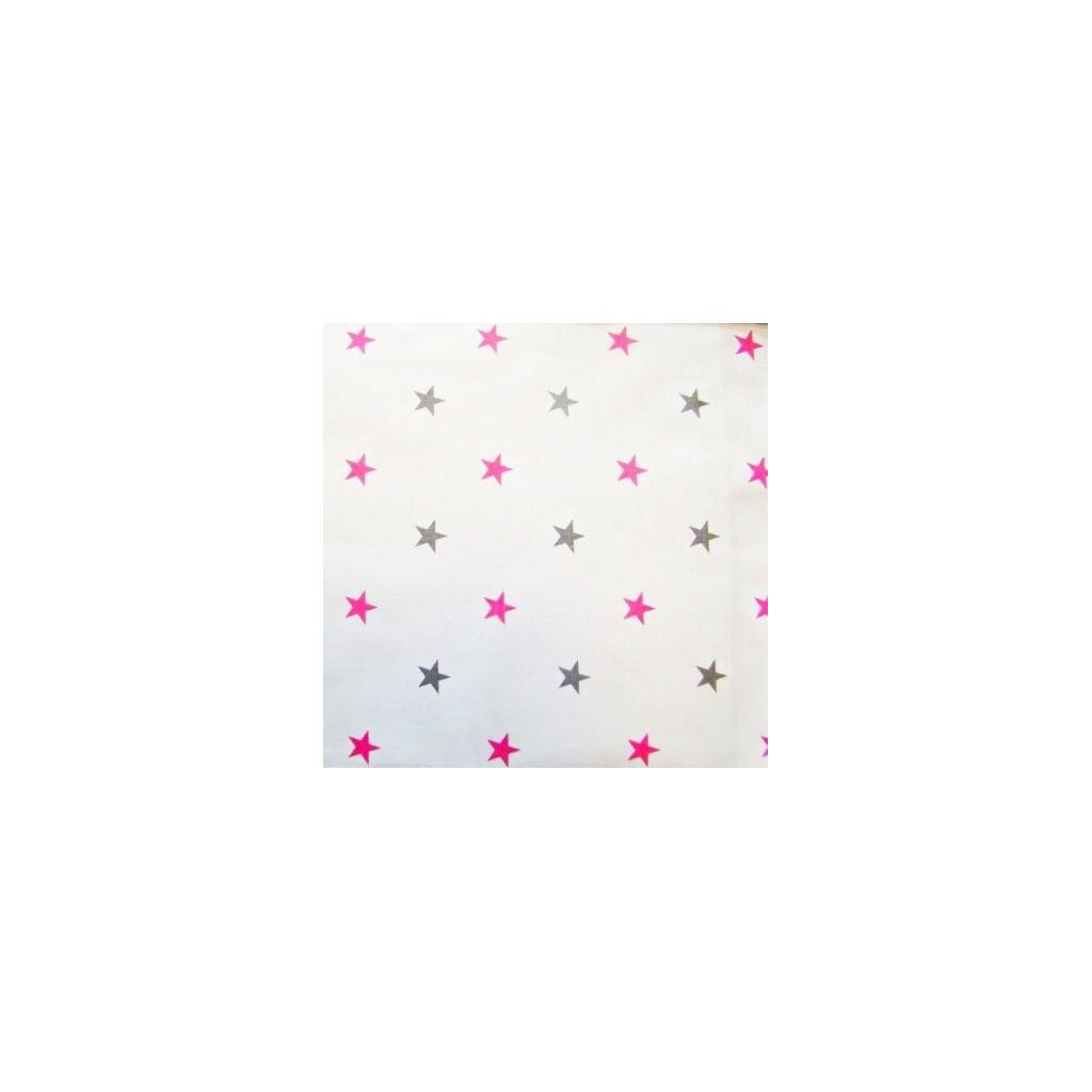 Tkanina w gwiazdki 12mm szaro/różowe na białym tle