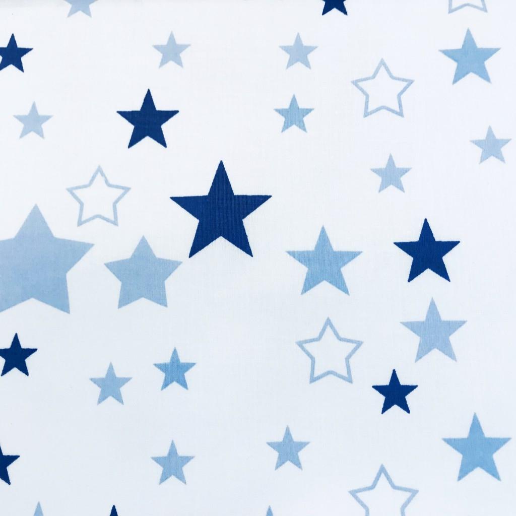 Tkanina gwiazdozbiór niebiesko granatowy na białym tle