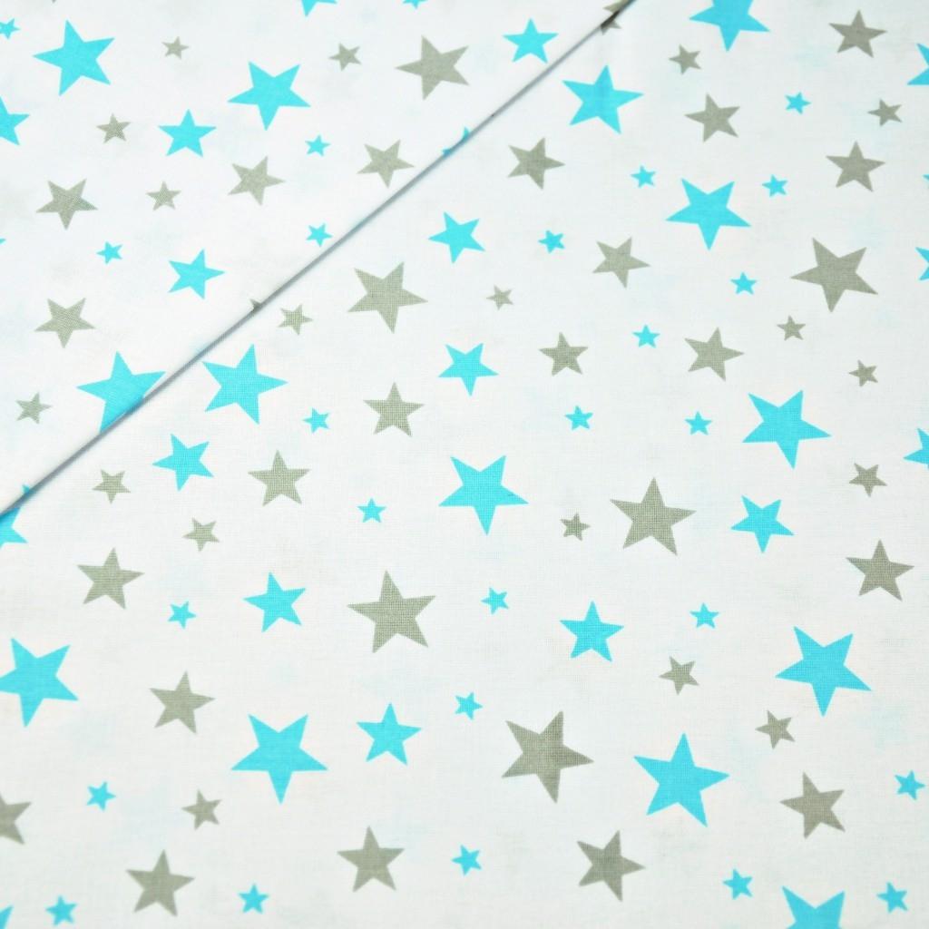 Tkanina w gwiazdki nowe małe i duże turkusowo szare na białym tle