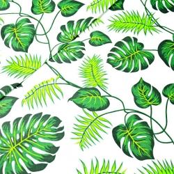 Tkanina w liście zielone na białym tle