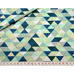 Tkanina w trójkąty małe kolorowe zielono-miętowe na białym tle