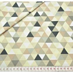 Tkanina w trójkąty małe kolorowe beżowe na białym tle
