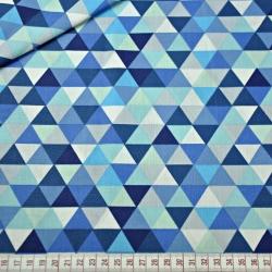Tkanina w trójkąty małe kolorowe niebieskie na białym tle