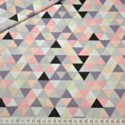 Tkanina w trójkąty małe kolorowe różowe na białym tle