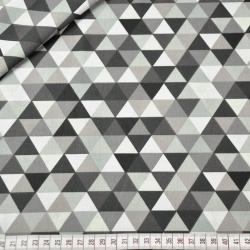 Tkanina w trójkąty małe kolorowe szaro brązowe na białym tle