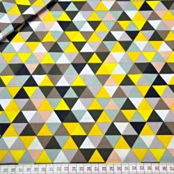 Tkanina w trójkąty małe kolorowe żółte na białym tle