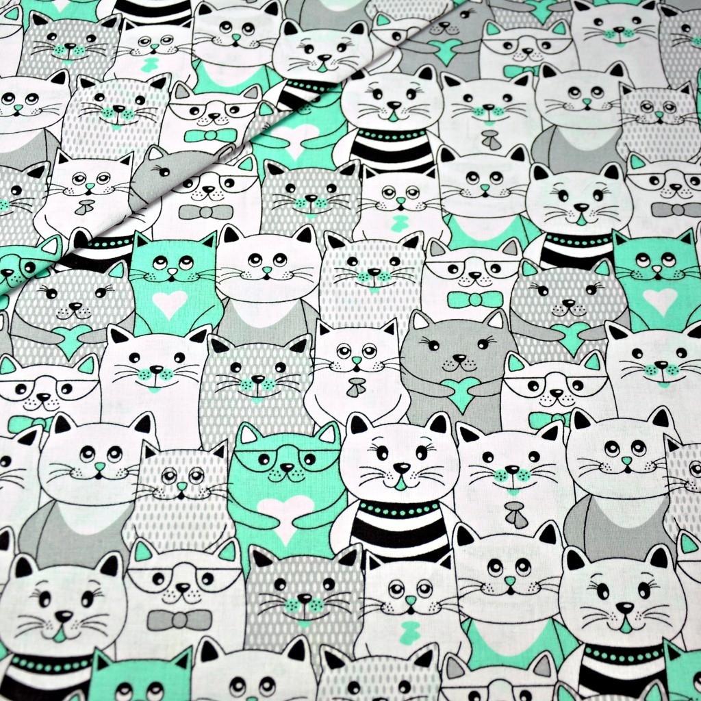 Tkanina koty w kinie szaro miętowe