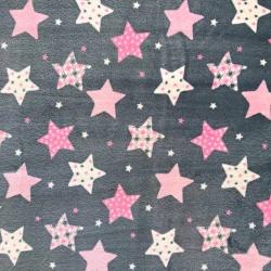 Tkanina Polar plus gwiazdki wzorzyste różowo-białe na szarym tle