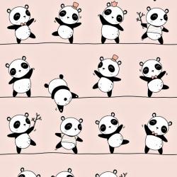 Bawełna Pandy tańczące na różowym tle