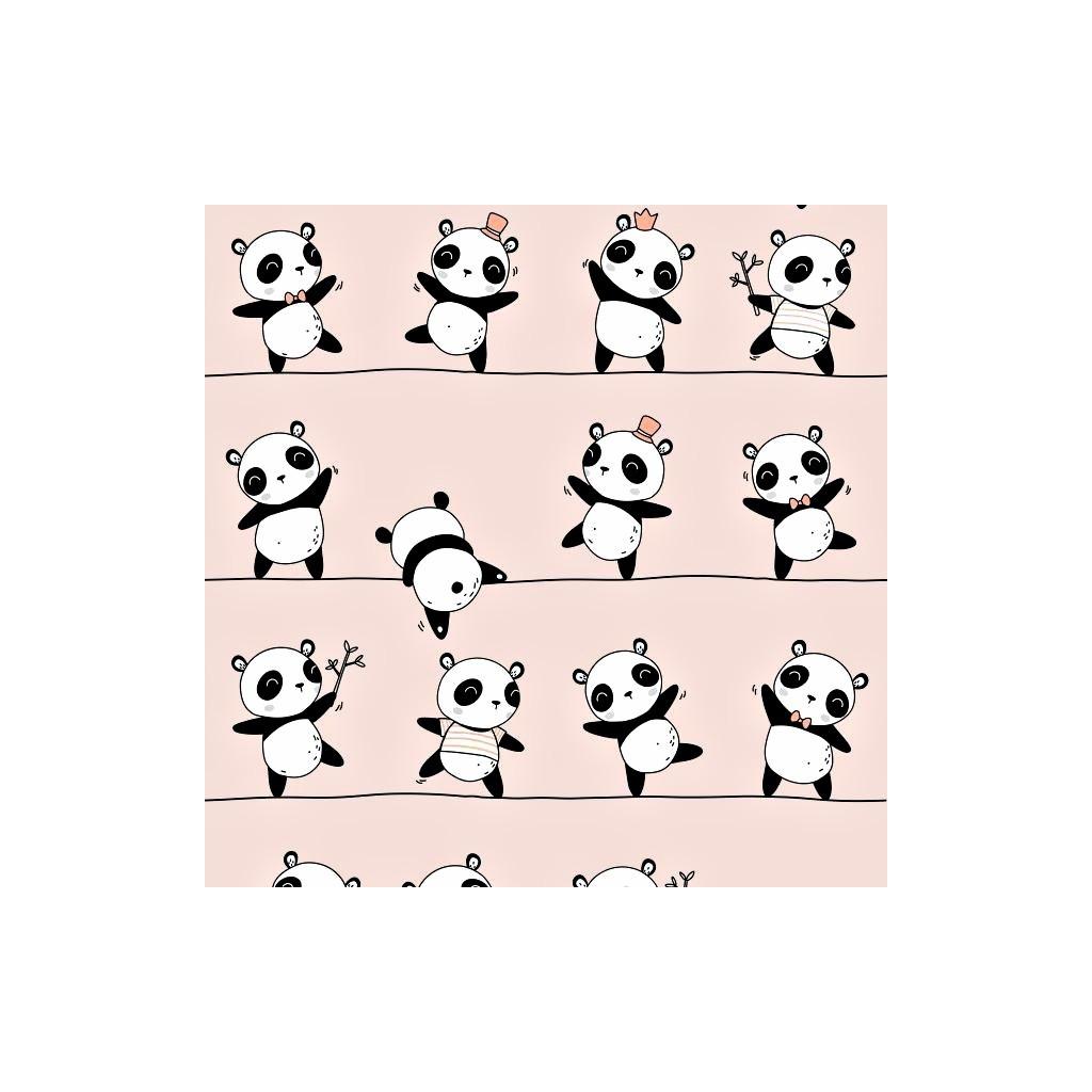 Tkanina w Pandy tańczące na różowym tle