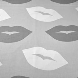 Bawełna usta biało szare na szarym tle