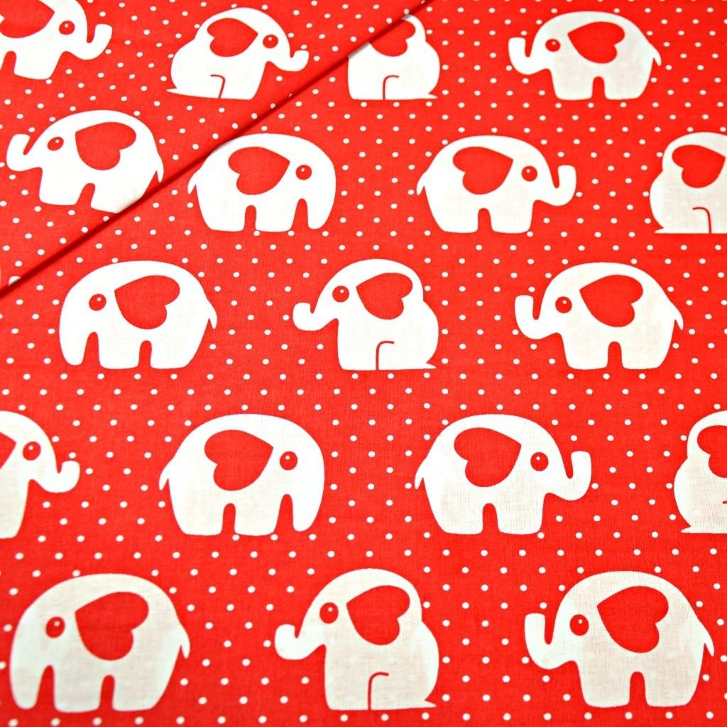 Tkanina w słoniki z serduszkiem z kropkami na czerwonym tle