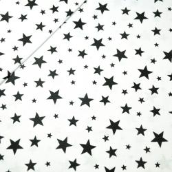 Tkanina w gwiazdki nowe małe i duże czarne na białym tle