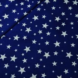 Bawełna gwiazdki nowe małe i duże białe na granatowym tle