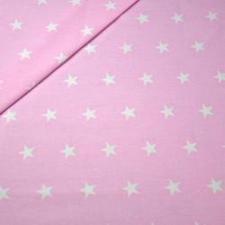 Tkanina w Gwiazdki 20mm Białe na różowym tle