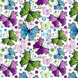 Bawełna motyle zielono niebiesko fioletowe na białym tle