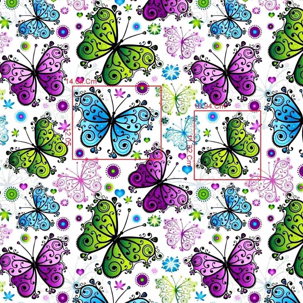 Tkanina w motyle zielono niebiesko fioletowe na białym tle