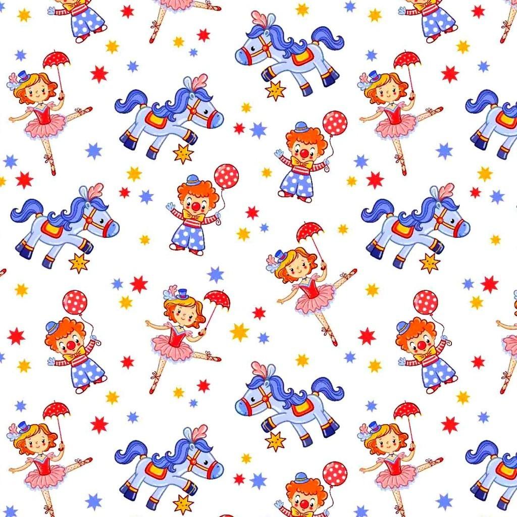 Tkanina cyrk niebiesko różowy na białym tle
