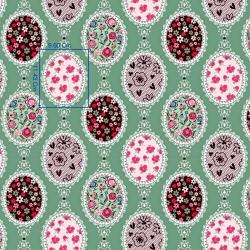 Tkanina w lusterka z kwiatami na szaro zielonym tle