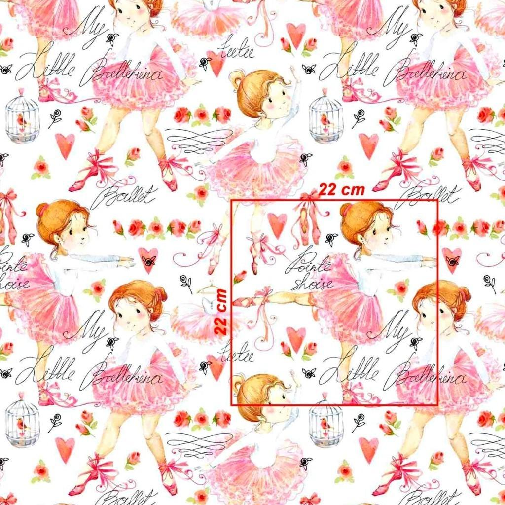 Tkanina w baletnice duże różowe na białym tle