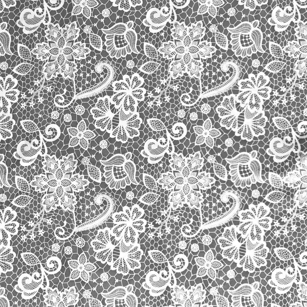 Tkanina koronka biała na szarym tle
