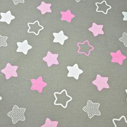 Tkanina w gwiazdki piernikowe biało różowe na szarym tle