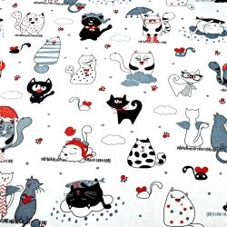 Bawełna kotki szalone z czerwonym na białym tle