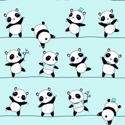Bawełna Pandy tańczące na miętowym tle