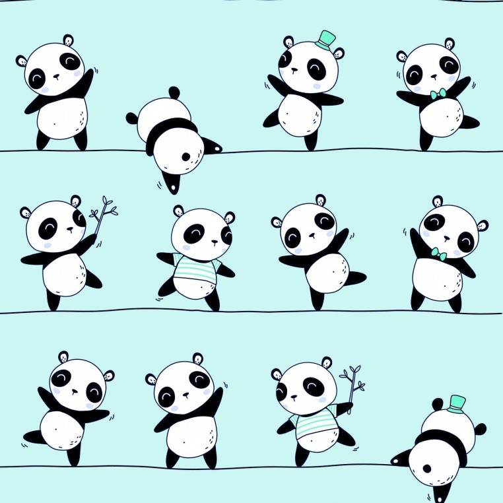 Tkanina w Pandy tańczące na miętowym tle
