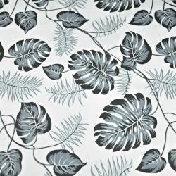 Tkanina w liście szare na białym tle
