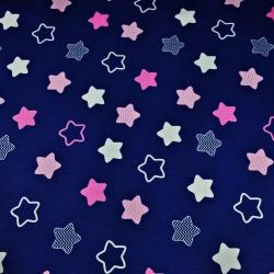 Tkanina w gwiazdki piernikowe biało różowe na granatowym tle