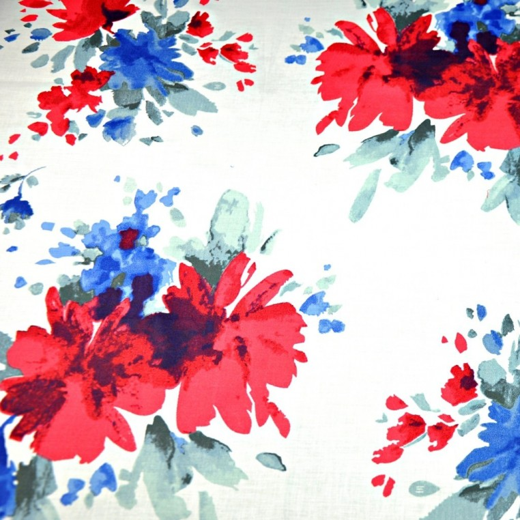 Tkanina w kwiaty malowane niebiesko czerwone - 220 cm