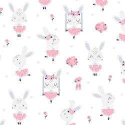 Bawełna króliki na huśtawkach na białym tle