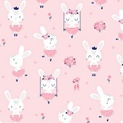 Tkanina w króliki na huśtawkach na różowym tle