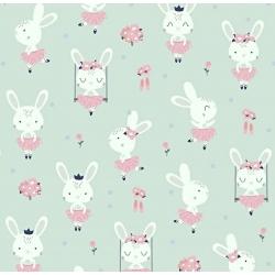 Tkanina w króliki na huśtawkach na szaro miętowym tle