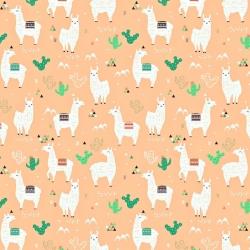 Bawełna alpaki na morelowym tle